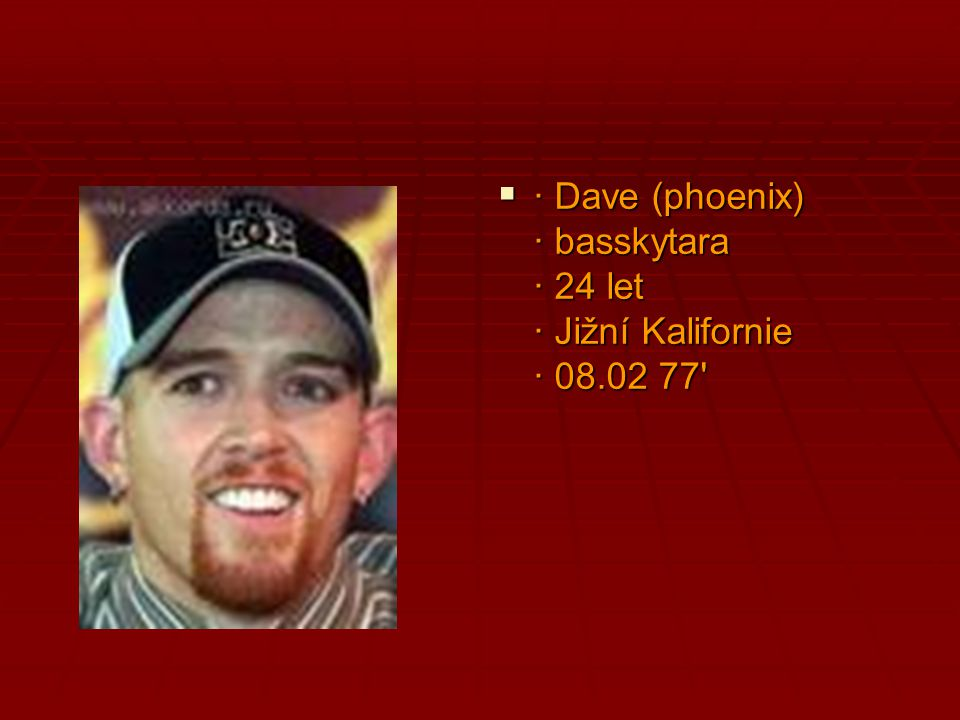 · Dave (phoenix) · basskytara · 24 let · Jižní Kalifornie · 08.02 77