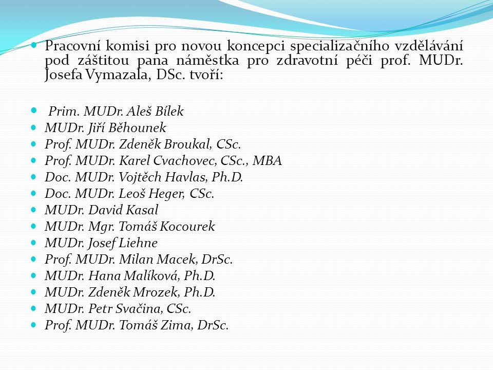 Pracovní komisi pro novou koncepci specializačního vzdělávání pod záštitou pana náměstka pro zdravotní péči prof. MUDr. Josefa Vymazala, DSc. tvoří: