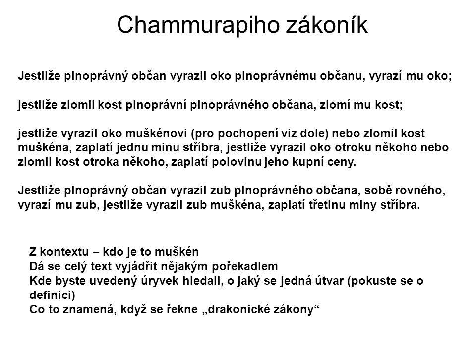 Chammurapiho zákoník Jestliže plnoprávný občan vyrazil oko plnoprávnému občanu, vyrazí mu oko;