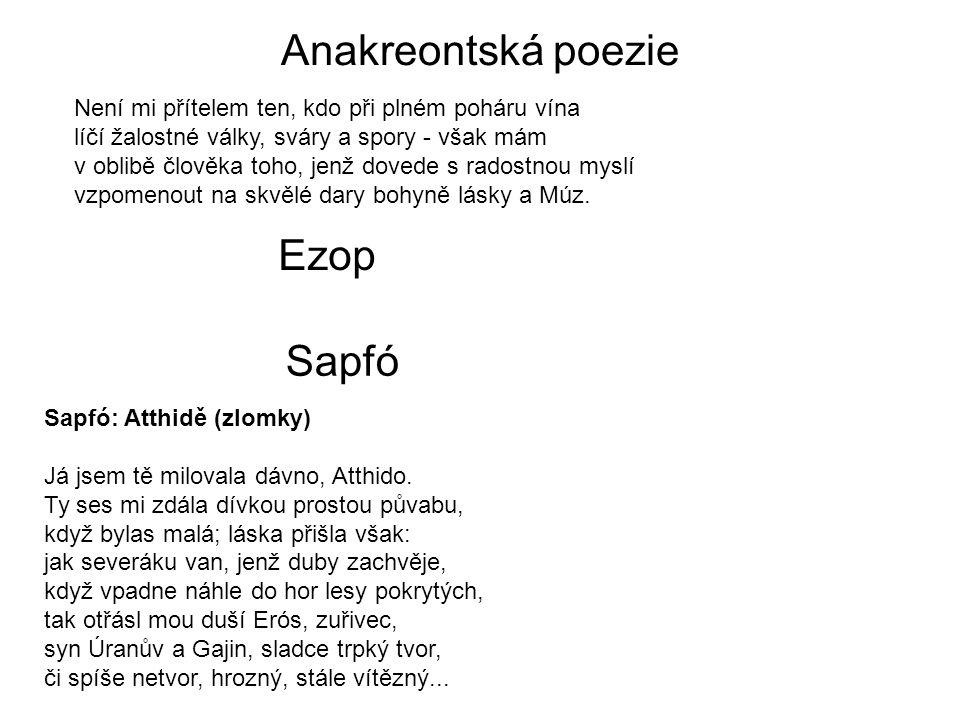 Anakreontská poezie Ezop Sapfó