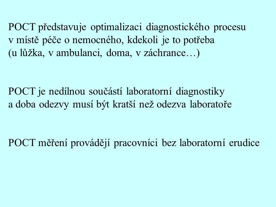 POCT představuje optimalizaci diagnostického procesu v místě péče o nemocného, kdekoli je to potřeba (u lůžka, v ambulanci, doma, v záchrance…) POCT je nedílnou součástí laboratorní diagnostiky a doba odezvy musí být kratší než odezva laboratoře POCT měření provádějí pracovníci bez laboratorní erudice
