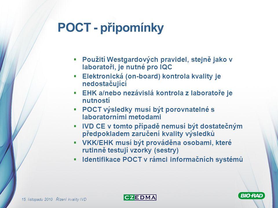 POCT - připomínky Použití Westgardových pravidel, stejně jako v laboratoři, je nutné pro IQC.