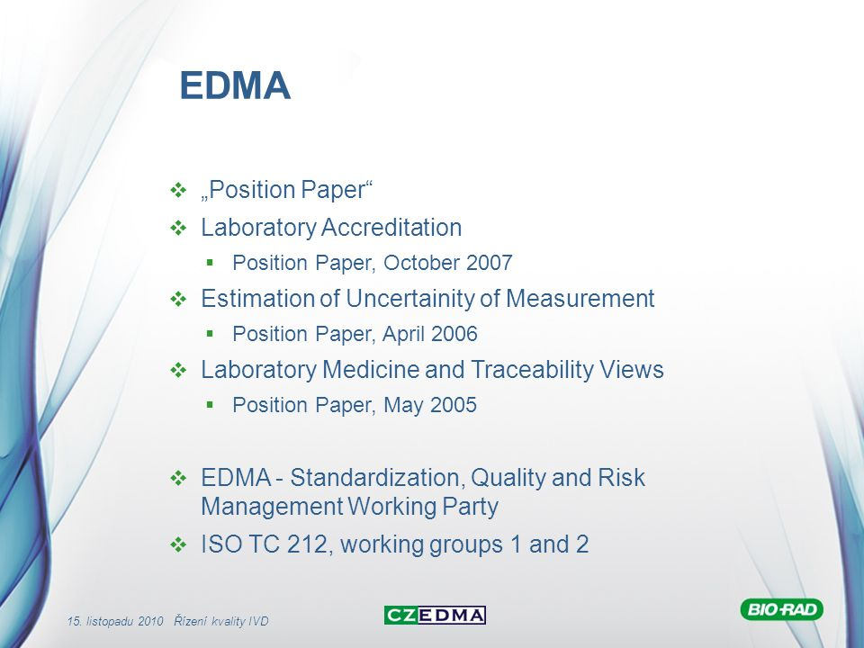 "EDMA ""Position Paper Laboratory Accreditation"