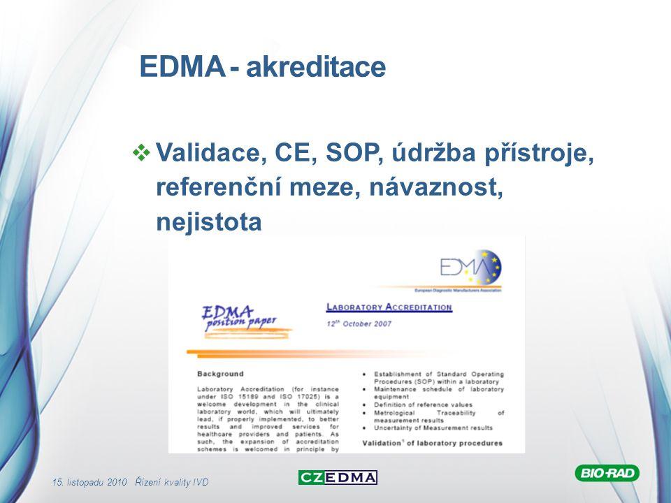 EDMA - akreditace Validace, CE, SOP, údržba přístroje, referenční meze, návaznost, nejistota.