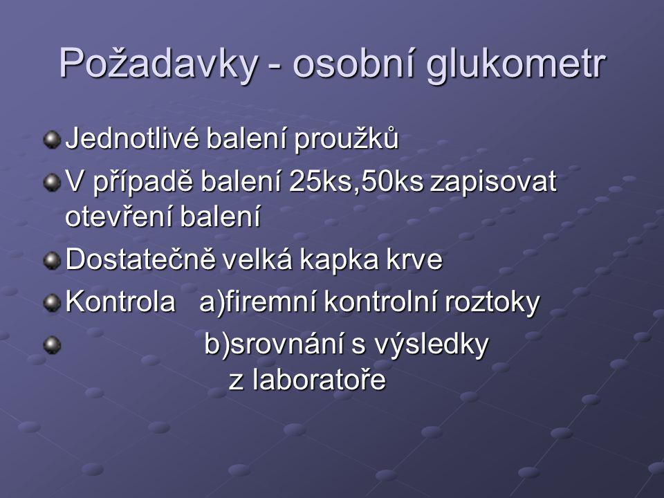 Požadavky - osobní glukometr