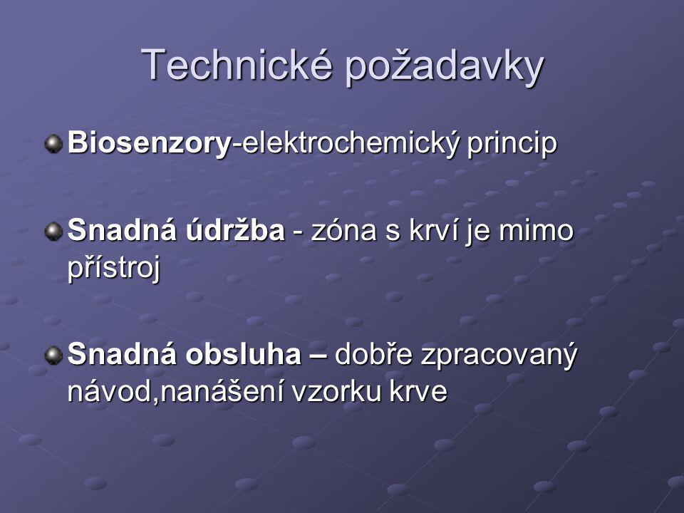 Technické požadavky Biosenzory-elektrochemický princip