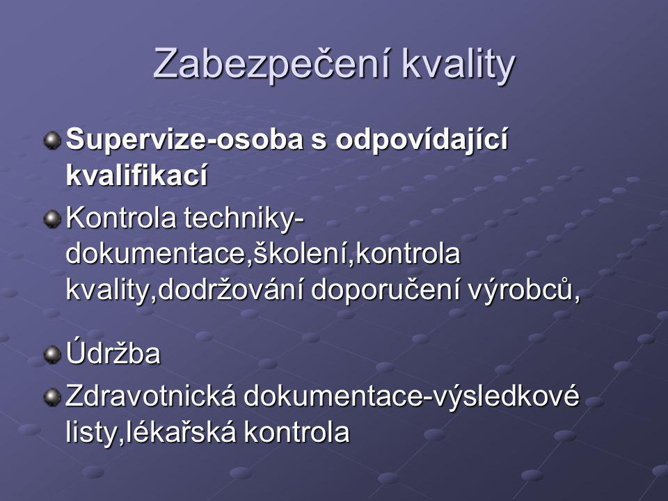 Zabezpečení kvality Supervize-osoba s odpovídající kvalifikací