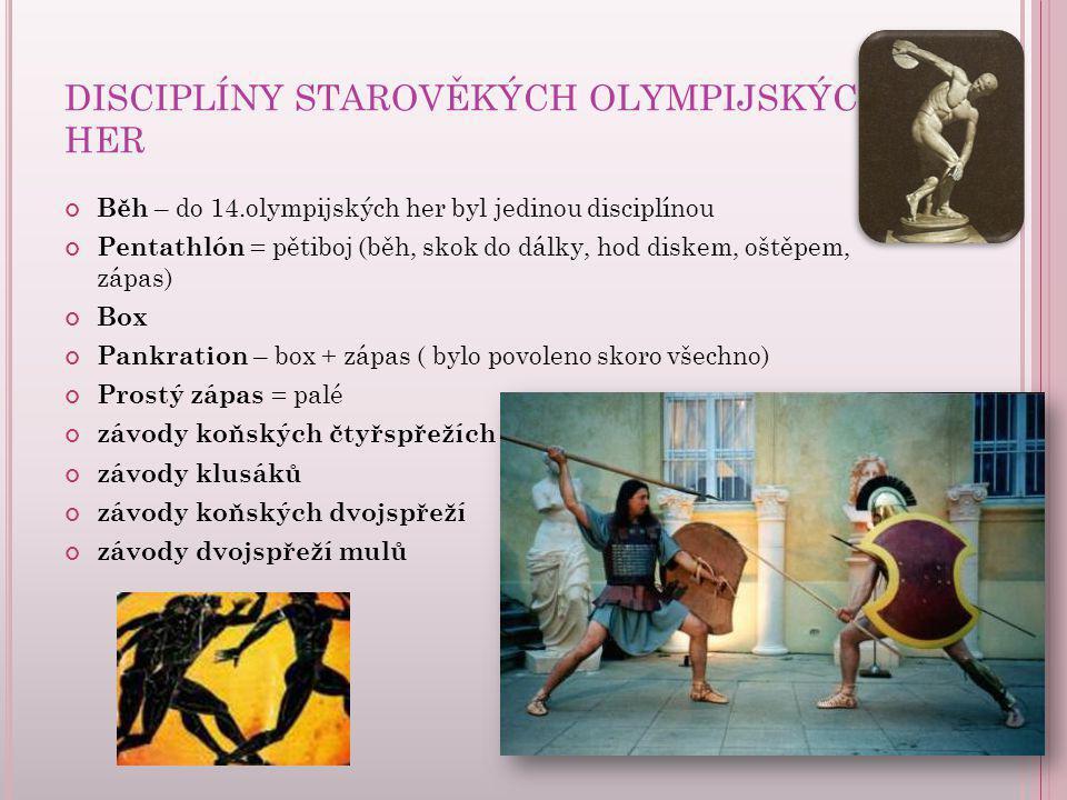 DISCIPLÍNY STAROVĚKÝCH OLYMPIJSKÝCH HER