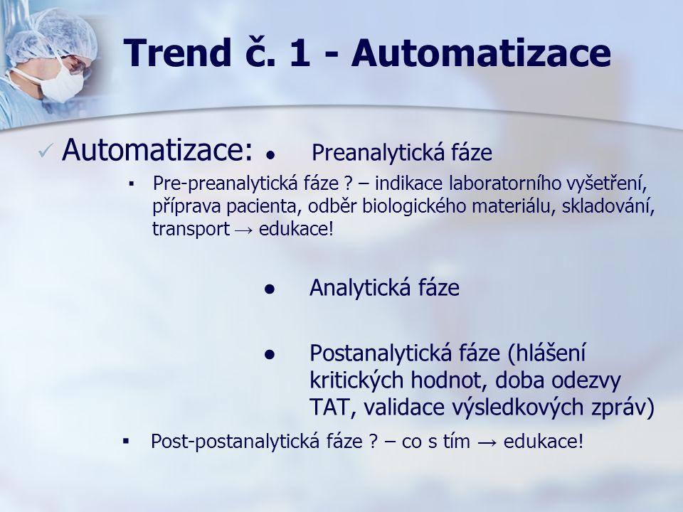 Trend č. 1 - Automatizace Automatizace: ● Preanalytická fáze