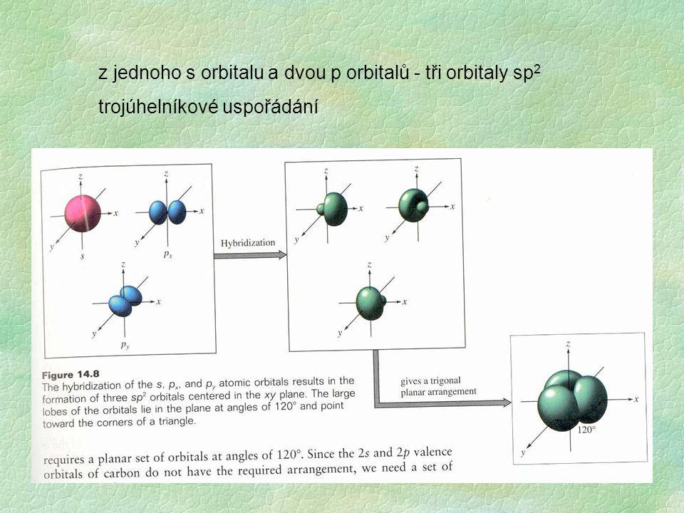z jednoho s orbitalu a dvou p orbitalů - tři orbitaly sp2