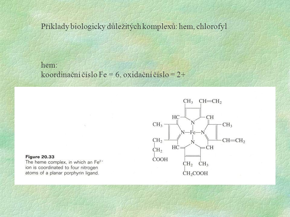 Příklady biologicky důležitých komplexů: hem, chlorofyl