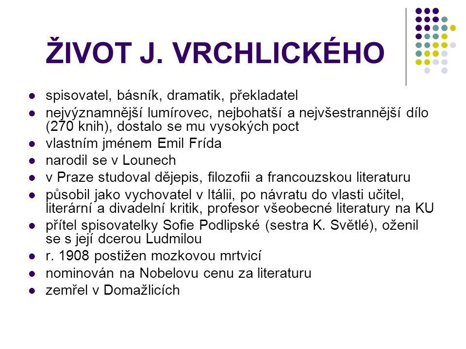 ŽIVOT J. VRCHLICKÉHO spisovatel, básník, dramatik, překladatel