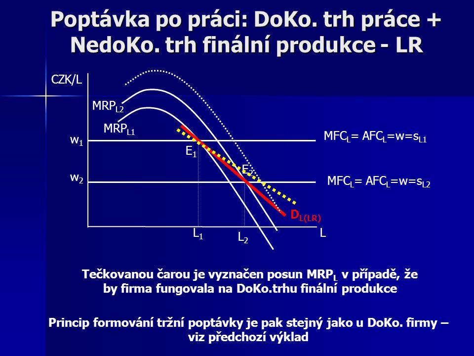 Poptávka po práci: DoKo. trh práce + NedoKo. trh finální produkce - LR