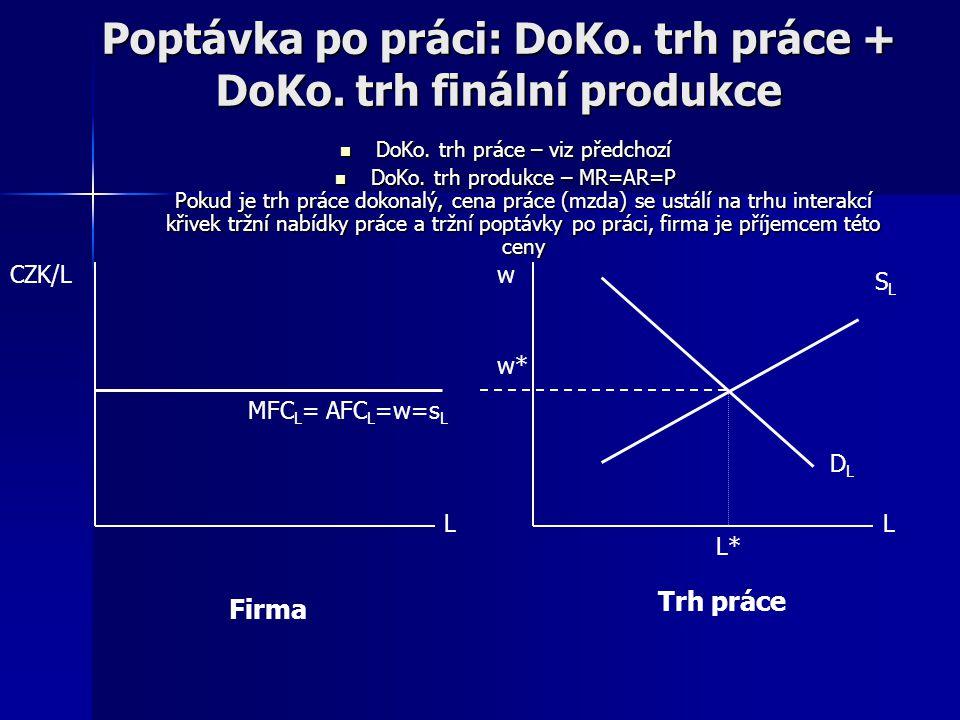 Poptávka po práci: DoKo. trh práce + DoKo. trh finální produkce