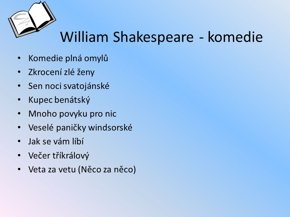 William Shakespeare - komedie