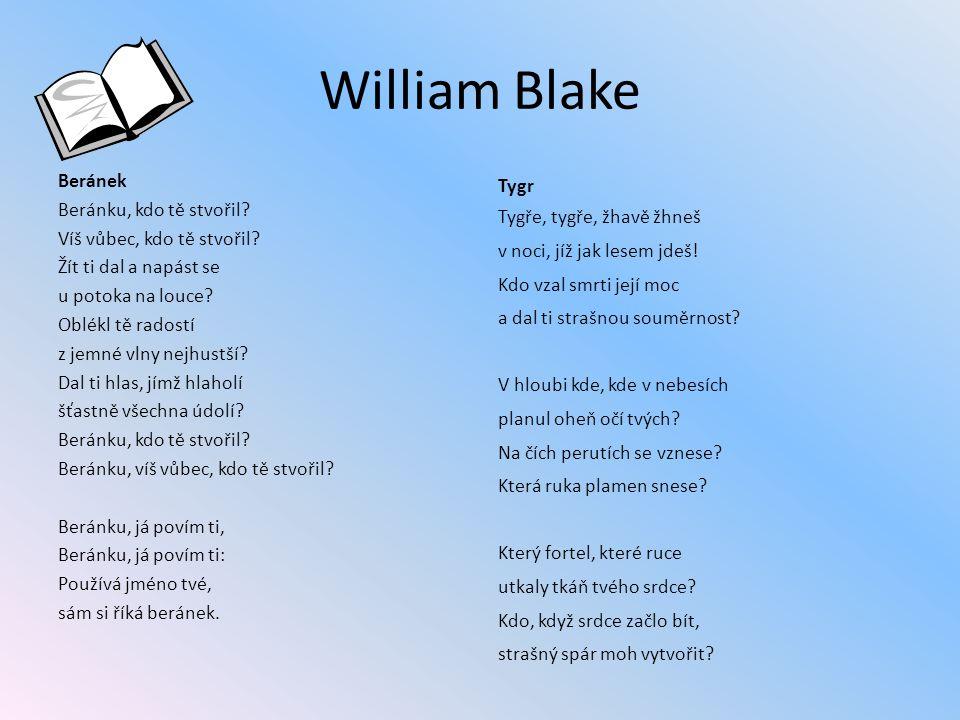 William Blake Beránek Beránku, kdo tě stvořil