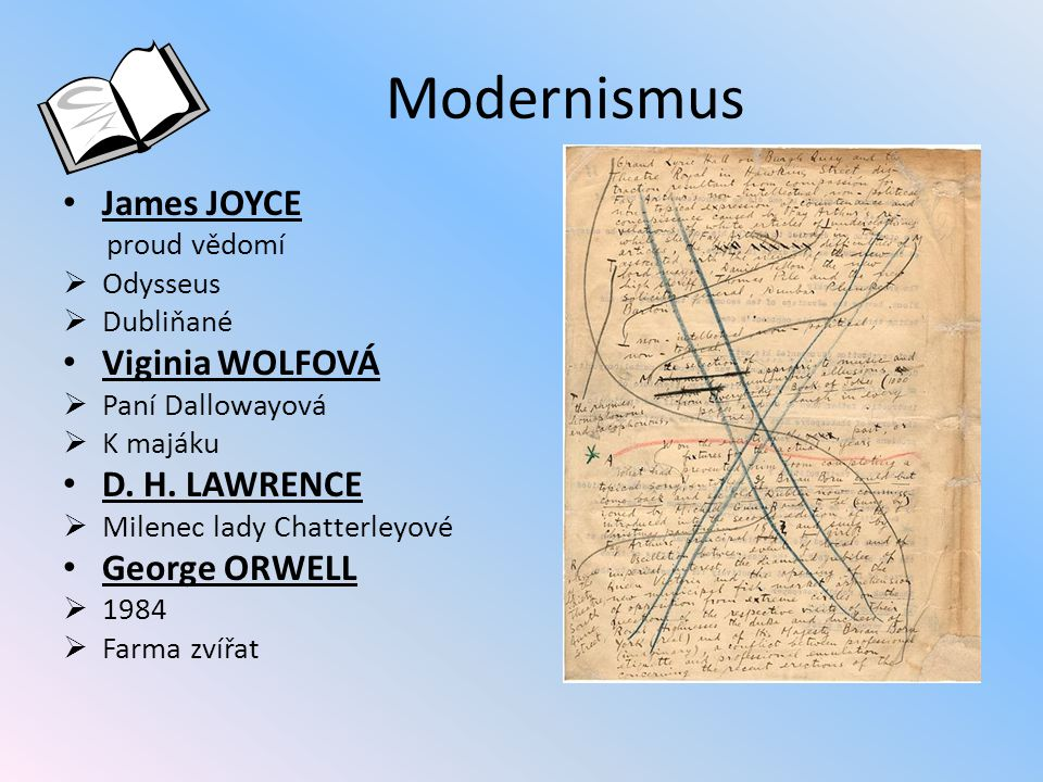 Modernismus James JOYCE Viginia WOLFOVÁ D. H. LAWRENCE George ORWELL