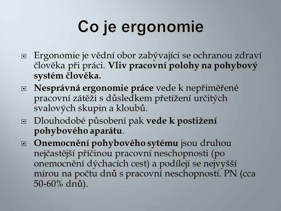 Co je ergonomie Ergonomie je vědní obor zabývající se ochranou zdraví člověka při práci. Vliv pracovní polohy na pohybový systém člověka.
