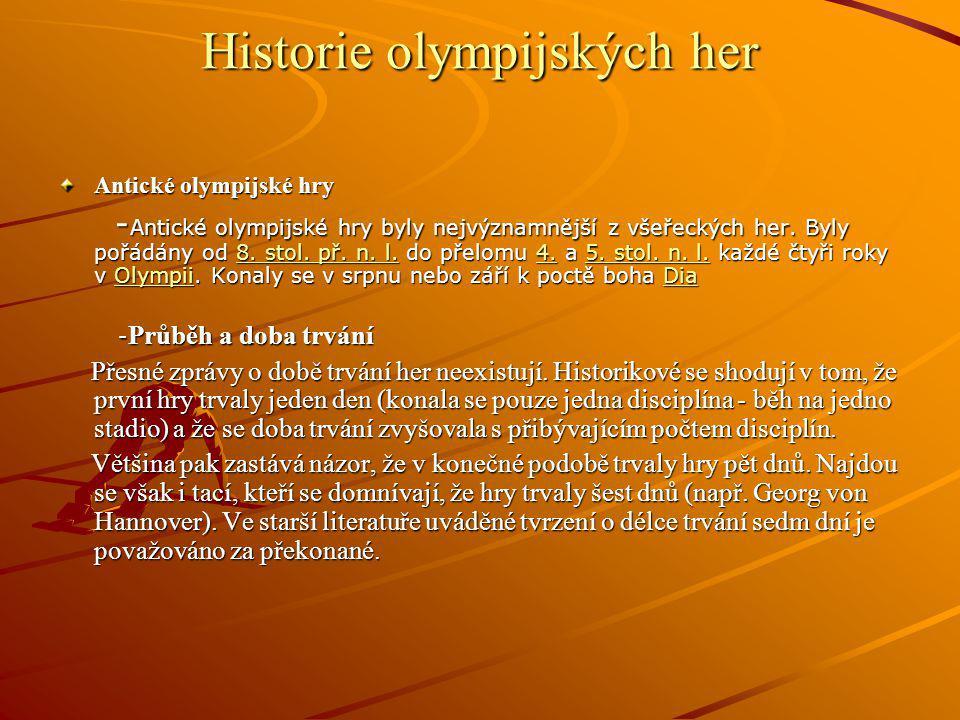 Historie olympijských her