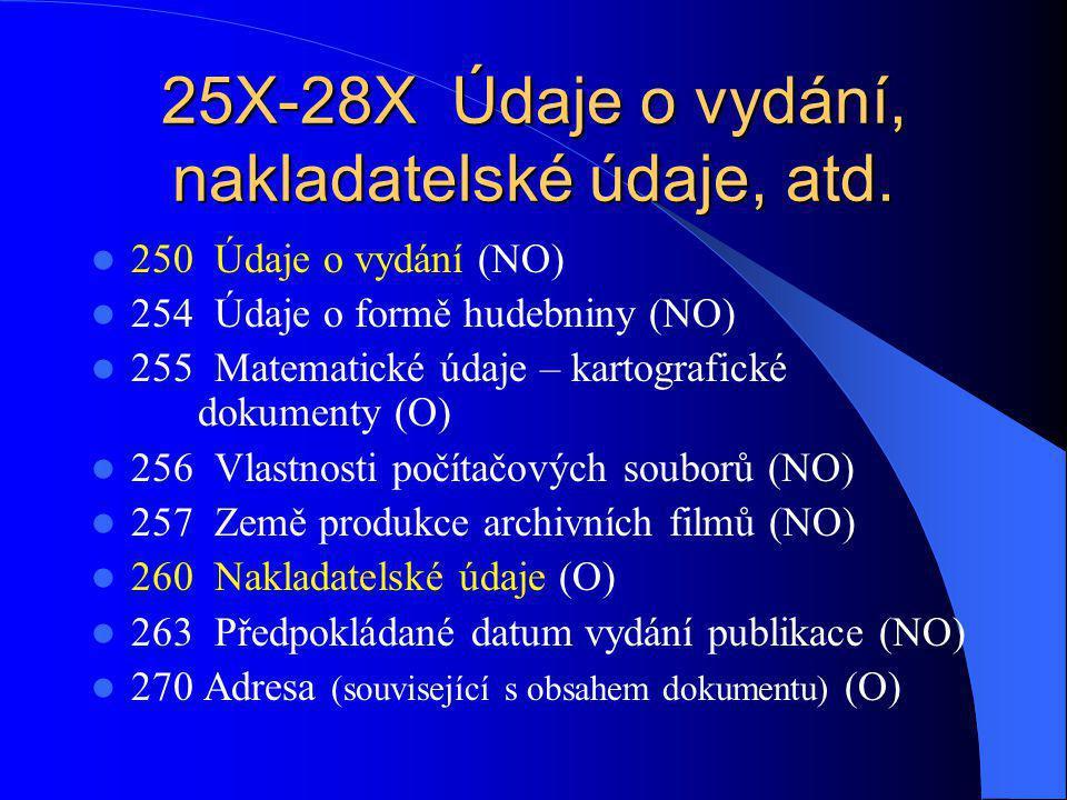 25X-28X Údaje o vydání, nakladatelské údaje, atd.