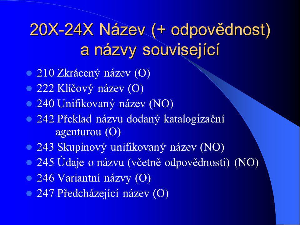 20X-24X Název (+ odpovědnost) a názvy související