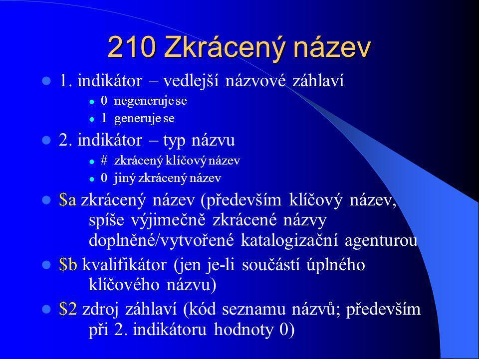 210 Zkrácený název 1. indikátor – vedlejší názvové záhlaví