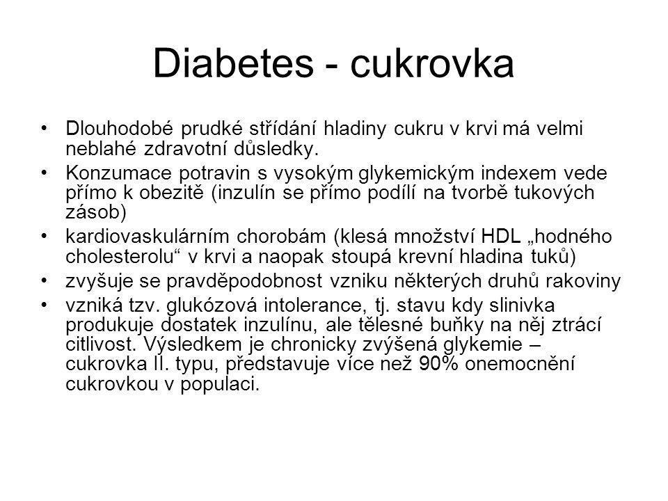 Diabetes - cukrovka Dlouhodobé prudké střídání hladiny cukru v krvi má velmi neblahé zdravotní důsledky.