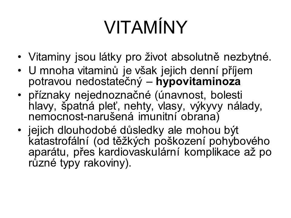VITAMÍNY Vitaminy jsou látky pro život absolutně nezbytné.