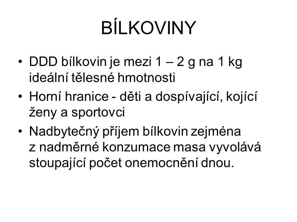 BÍLKOVINY DDD bílkovin je mezi 1 – 2 g na 1 kg ideální tělesné hmotnosti. Horní hranice - děti a dospívající, kojící ženy a sportovci.