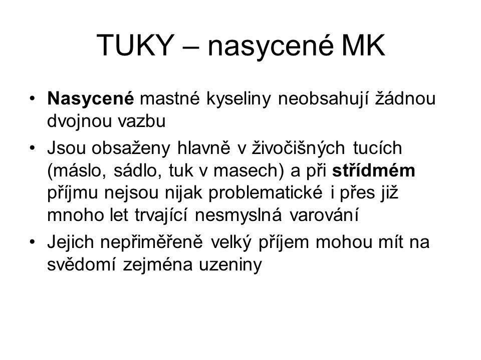 TUKY – nasycené MK Nasycené mastné kyseliny neobsahují žádnou dvojnou vazbu.