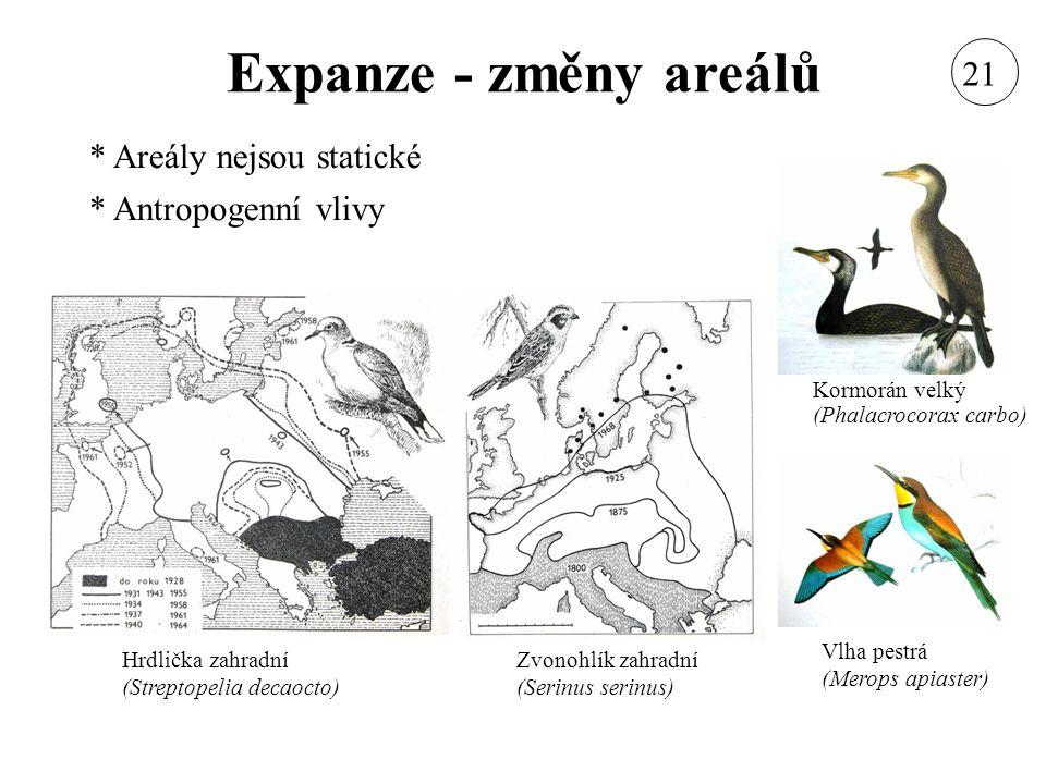 Expanze - změny areálů 21 Areály nejsou statické Antropogenní vlivy