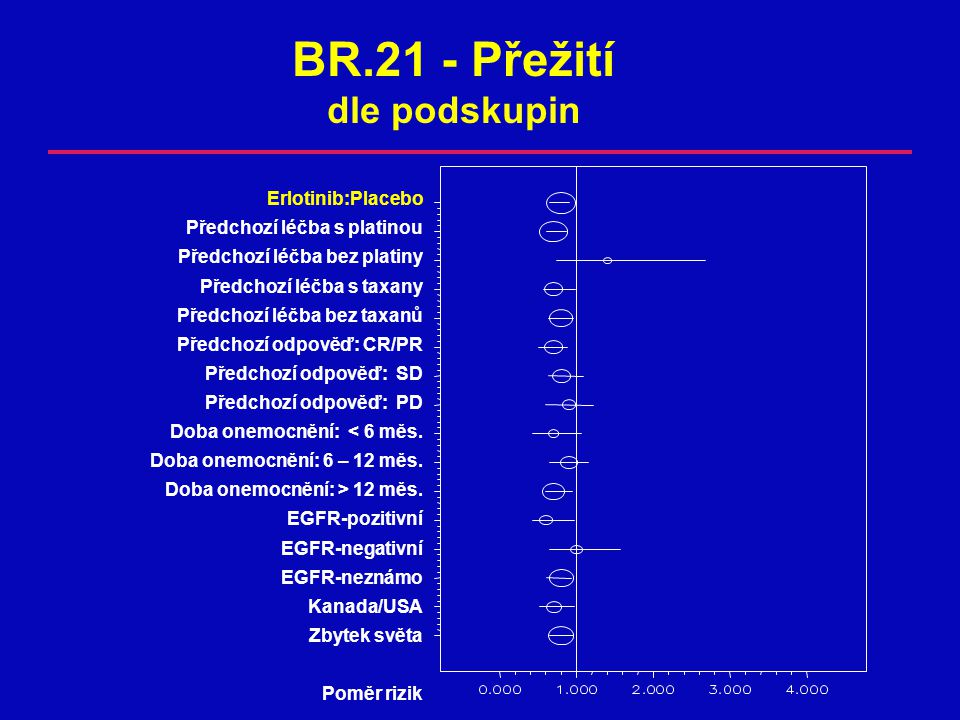 BR.21 - Přežití dle podskupin Erlotinib:Placebo