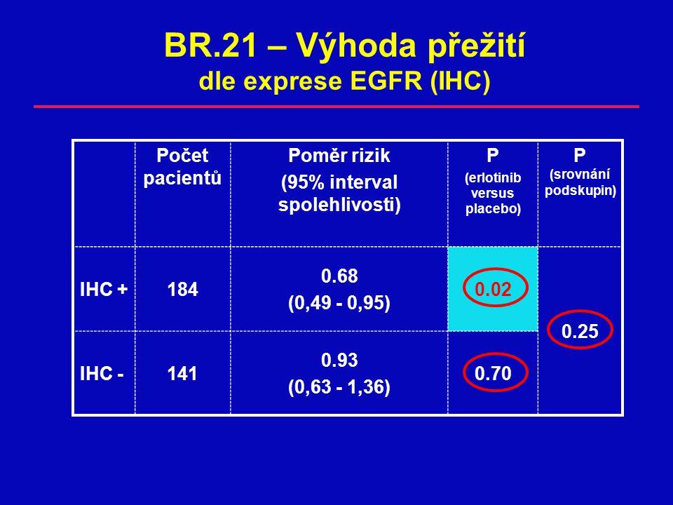 BR.21 – Výhoda přežití dle exprese EGFR (IHC)