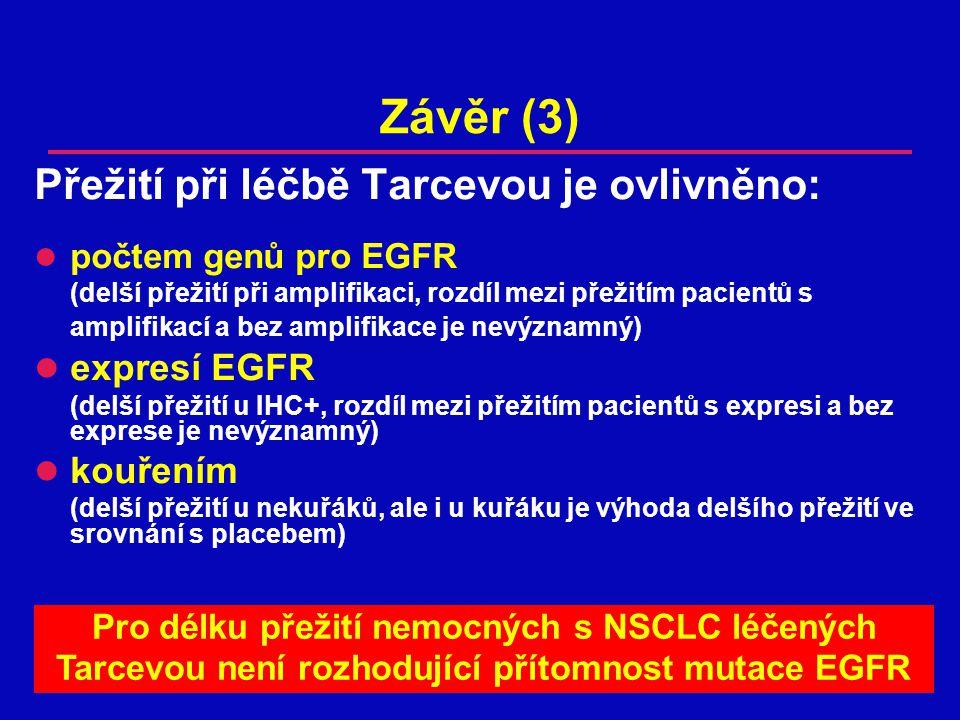 Závěr (3) Přežití při léčbě Tarcevou je ovlivněno: expresí EGFR