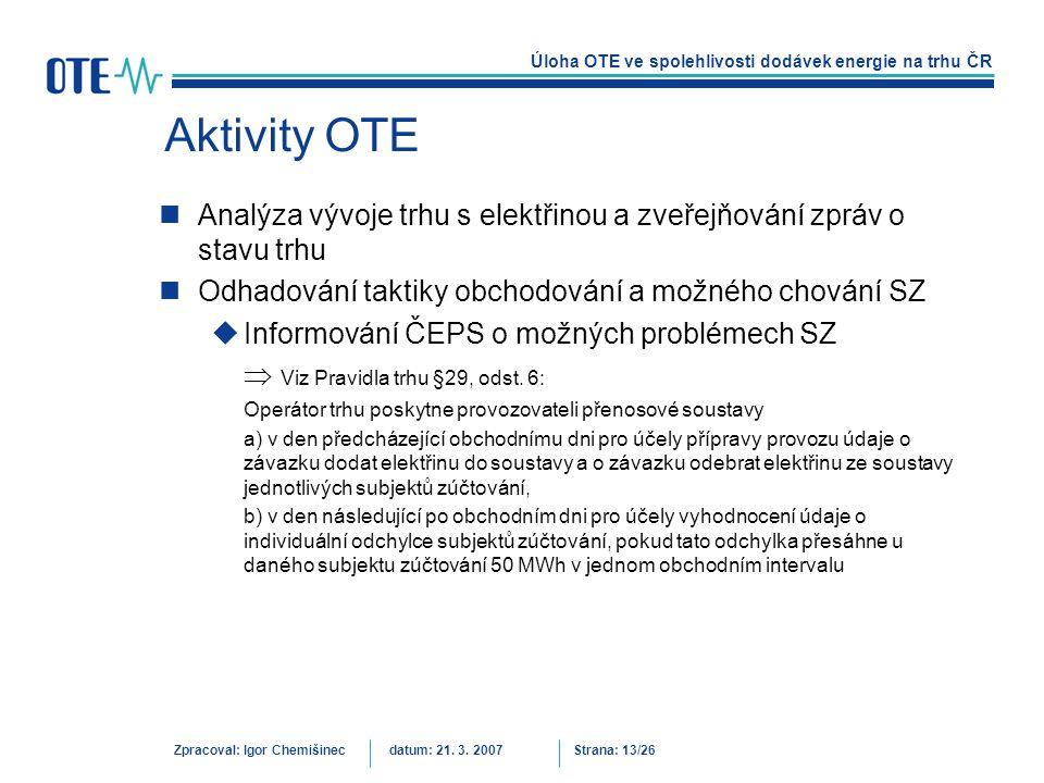 Aktivity OTE Analýza vývoje trhu s elektřinou a zveřejňování zpráv o stavu trhu. Odhadování taktiky obchodování a možného chování SZ.