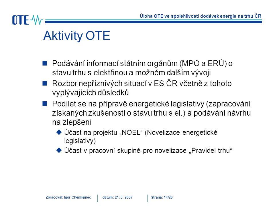 Aktivity OTE Podávání informací státním orgánům (MPO a ERÚ) o stavu trhu s elektřinou a možném dalším vývoji.