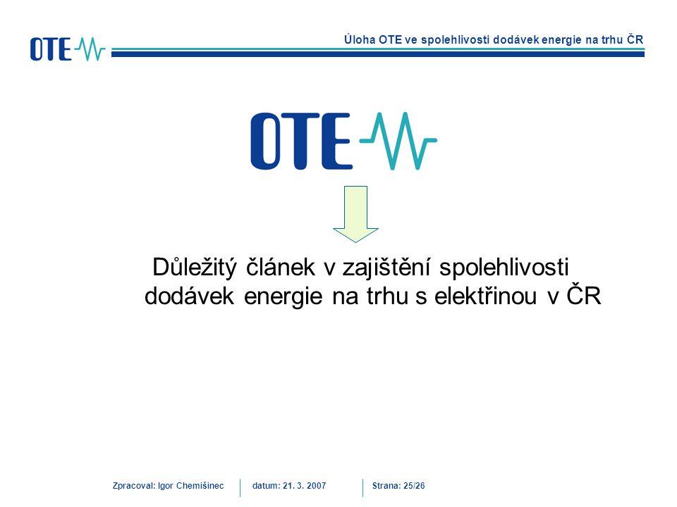 Důležitý článek v zajištění spolehlivosti dodávek energie na trhu s elektřinou v ČR