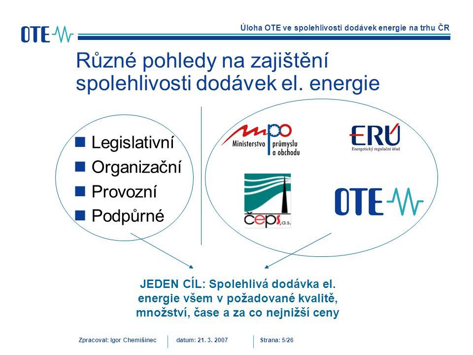 Různé pohledy na zajištění spolehlivosti dodávek el. energie