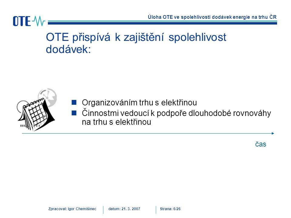 OTE přispívá k zajištění spolehlivost dodávek: