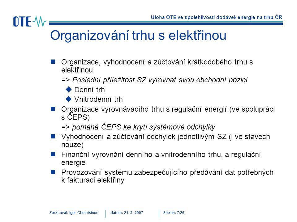 Organizování trhu s elektřinou