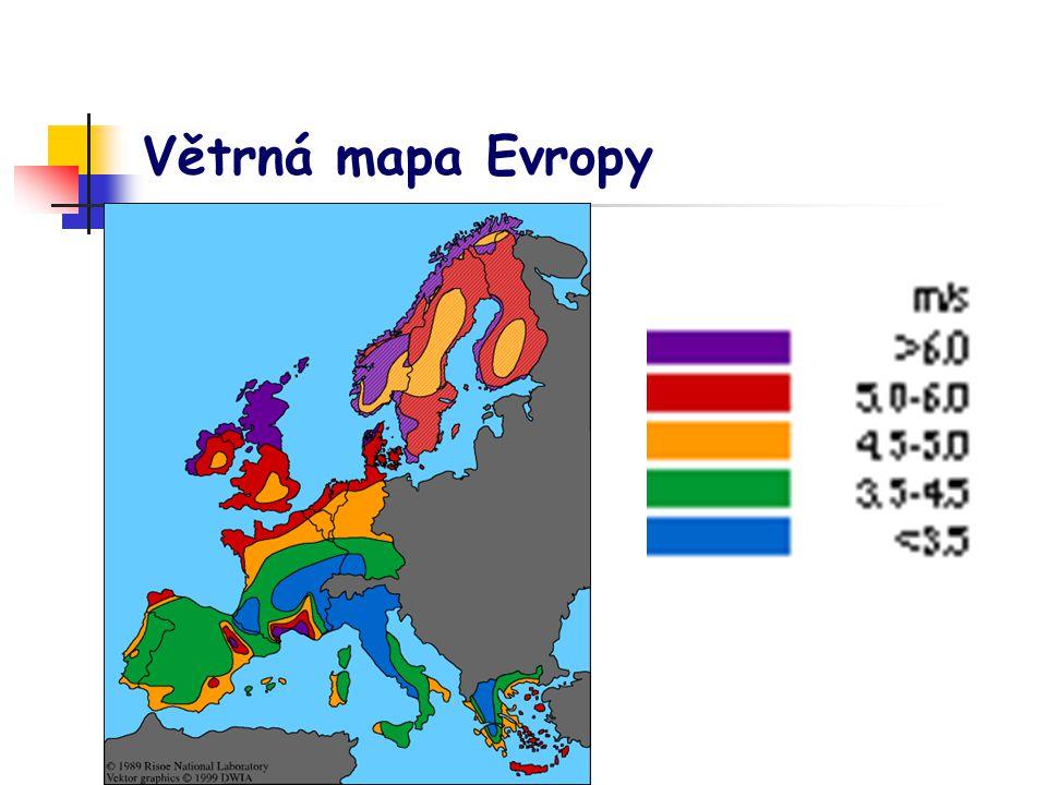 Větrná mapa Evropy