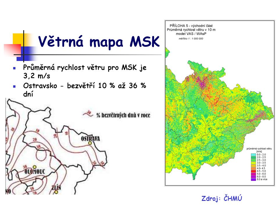 Větrná mapa MSK Průměrná rychlost větru pro MSK je 3,2 m/s