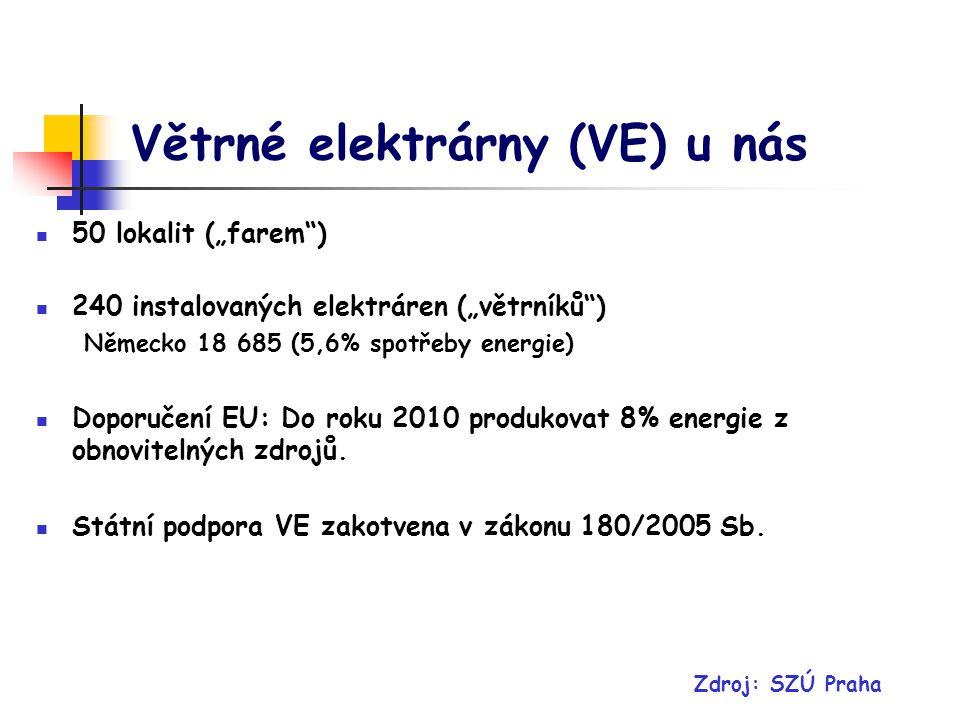 Větrné elektrárny (VE) u nás