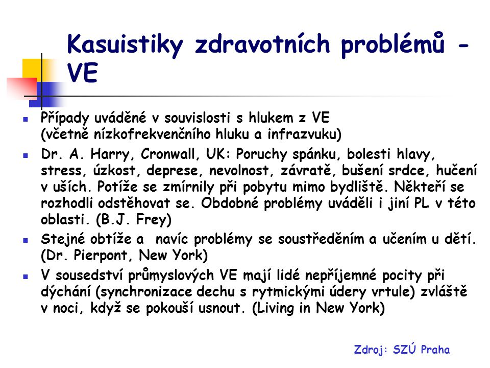 Kasuistiky zdravotních problémů - VE