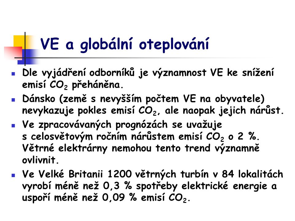 VE a globální oteplování