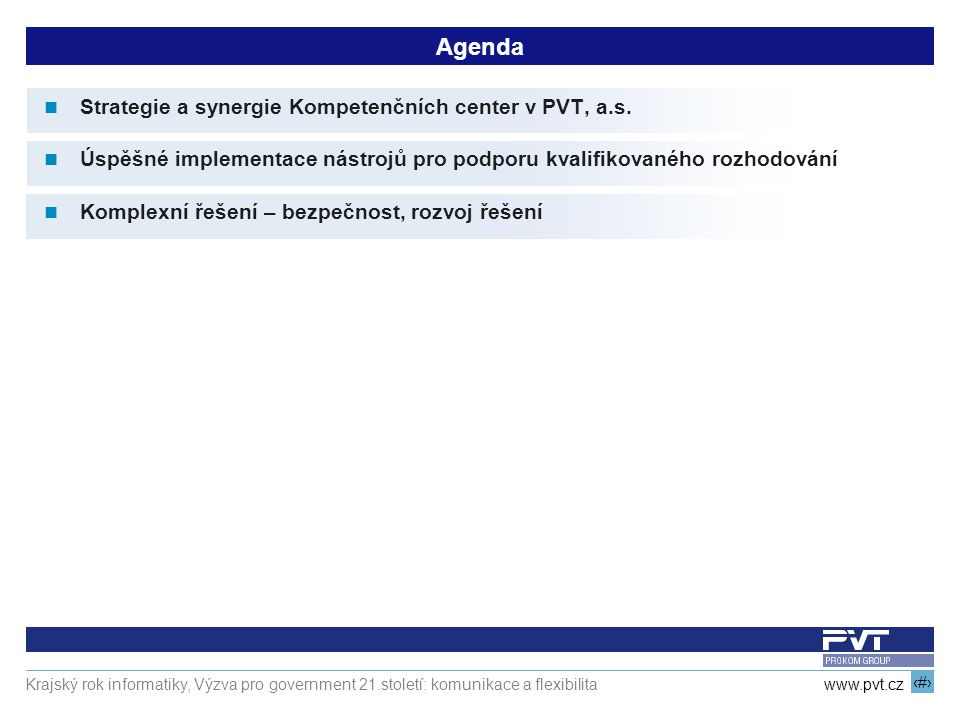 Agenda Strategie a synergie Kompetenčních center v PVT, a.s.