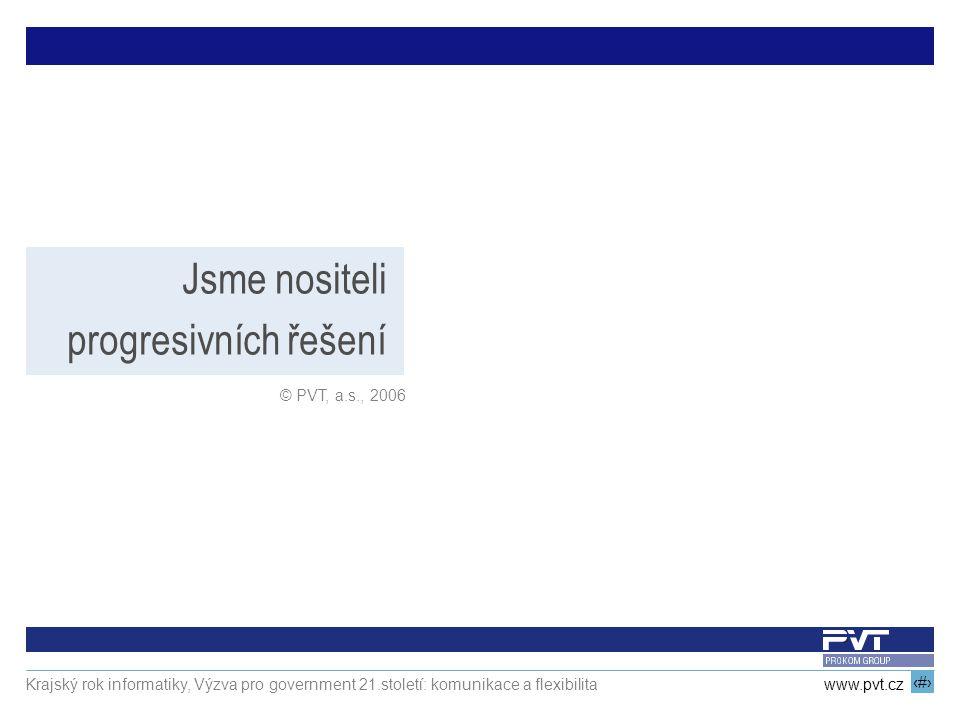 Jsme nositeli progresivních řešení © PVT, a.s., 2006