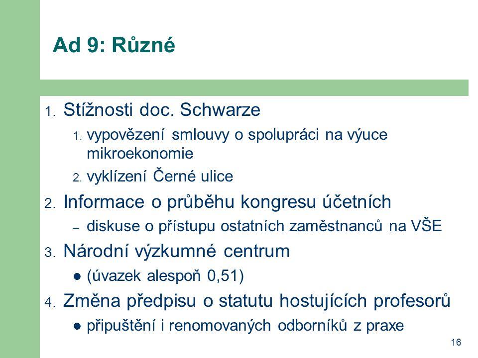 Ad 9: Různé Stížnosti doc. Schwarze