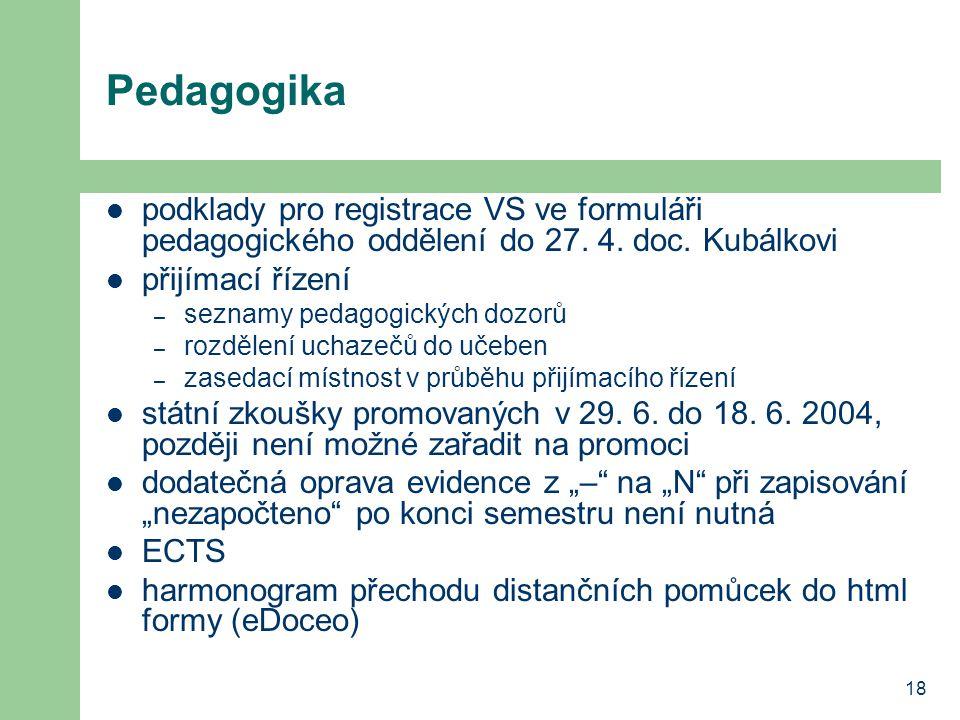 Pedagogika podklady pro registrace VS ve formuláři pedagogického oddělení do 27. 4. doc. Kubálkovi.