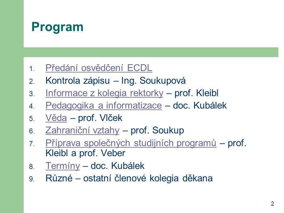 Program Předání osvědčení ECDL Kontrola zápisu – Ing. Soukupová